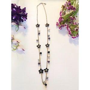 Black floral long necklace